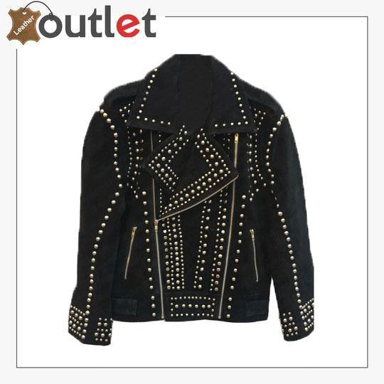 Handmade Mens Black Fashion Studded Punk Style Suede Jacket