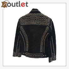Load image into Gallery viewer, Handmade Mens Black Fashion Studded Punk Style Suede Jacket
