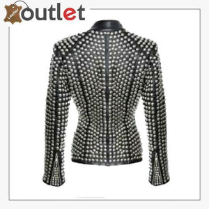 New Handmade Women's Black Fashion Golden Studded Punk Style Leather Jacket