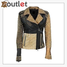 Load image into Gallery viewer, Handmade Womens Fashion Golden Studded Punk Style Leather Jacket