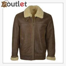 Load image into Gallery viewer, Men Brown Aviator Shearling Leather