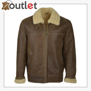 Men Brown Aviator Shearling Leather