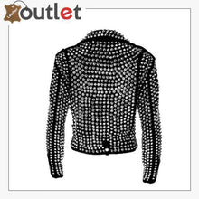 Load image into Gallery viewer, Handmade Women Black Fashion Studded Punk Style Leather Jacket