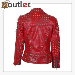 Handmade Womens Red Fashion Studded Punk Style Leather Jacket