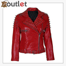 Load image into Gallery viewer, Handmade Womens Red Fashion Studded Punk Style Leather Jacket