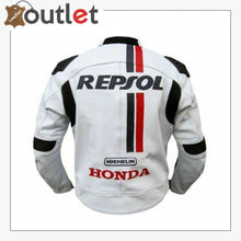 Load image into Gallery viewer, 5 Safety Protections Honda Repsol Motorcycle Leather Jacket