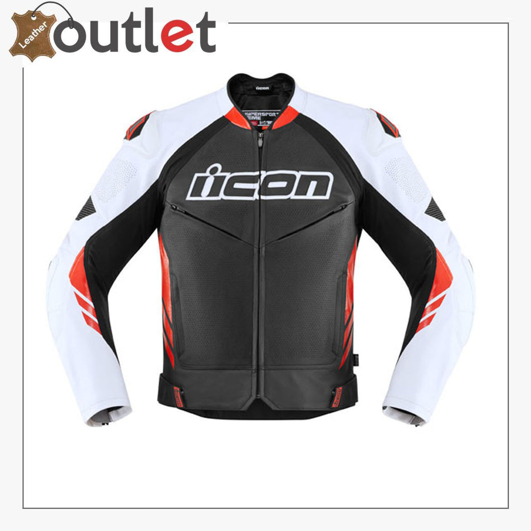 Black-Red High Speed Motorbike Leather Jacket