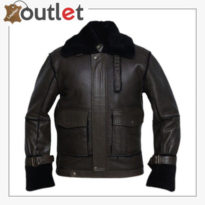 Men Black Bomber Shearling Jacket