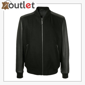 Men Black College Bomber Jacket