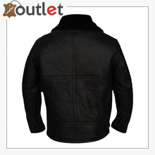 Load image into Gallery viewer, Men Jet Black Shearling Leather Jacket