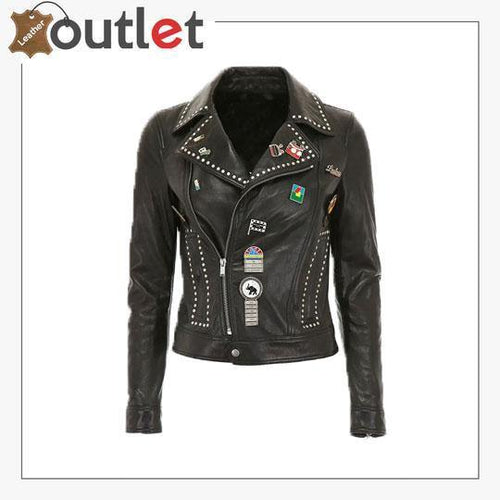 Silver Studded Biker Jacket with Pins