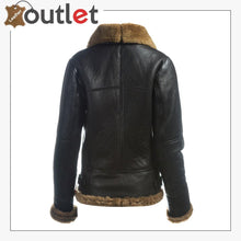 Load image into Gallery viewer, Color: Black Material: Pure Leather Inner Soft Shearling Shearling Lapel Collar With Detachable Hoodie Fur Cuffs Zip Fastening Outside Pockets