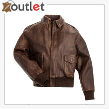Load image into Gallery viewer, A2 Aviator Brown Bomber Leather Jacket