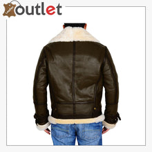 Load image into Gallery viewer, Army Green Men B3 Bomber Shealring Leather Jacket