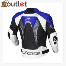 Load image into Gallery viewer, Alpinestars Blue Croes Celer Leather Motorcycle Jacket