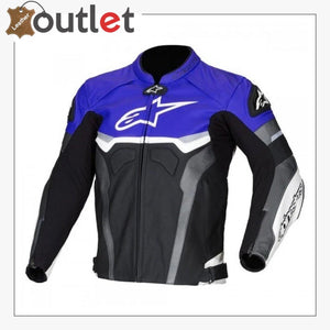 Alpinestars Blue Croes Celer Leather Motorcycle Jacket