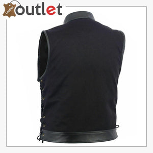 Anarchy Leather MotorBiker Vest For Men