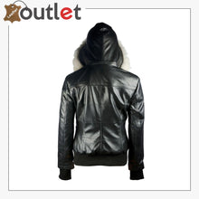 Load image into Gallery viewer, Arctic Freeze Black Bomber Womens Leather Jacket with Hoodie - Leather Outlet