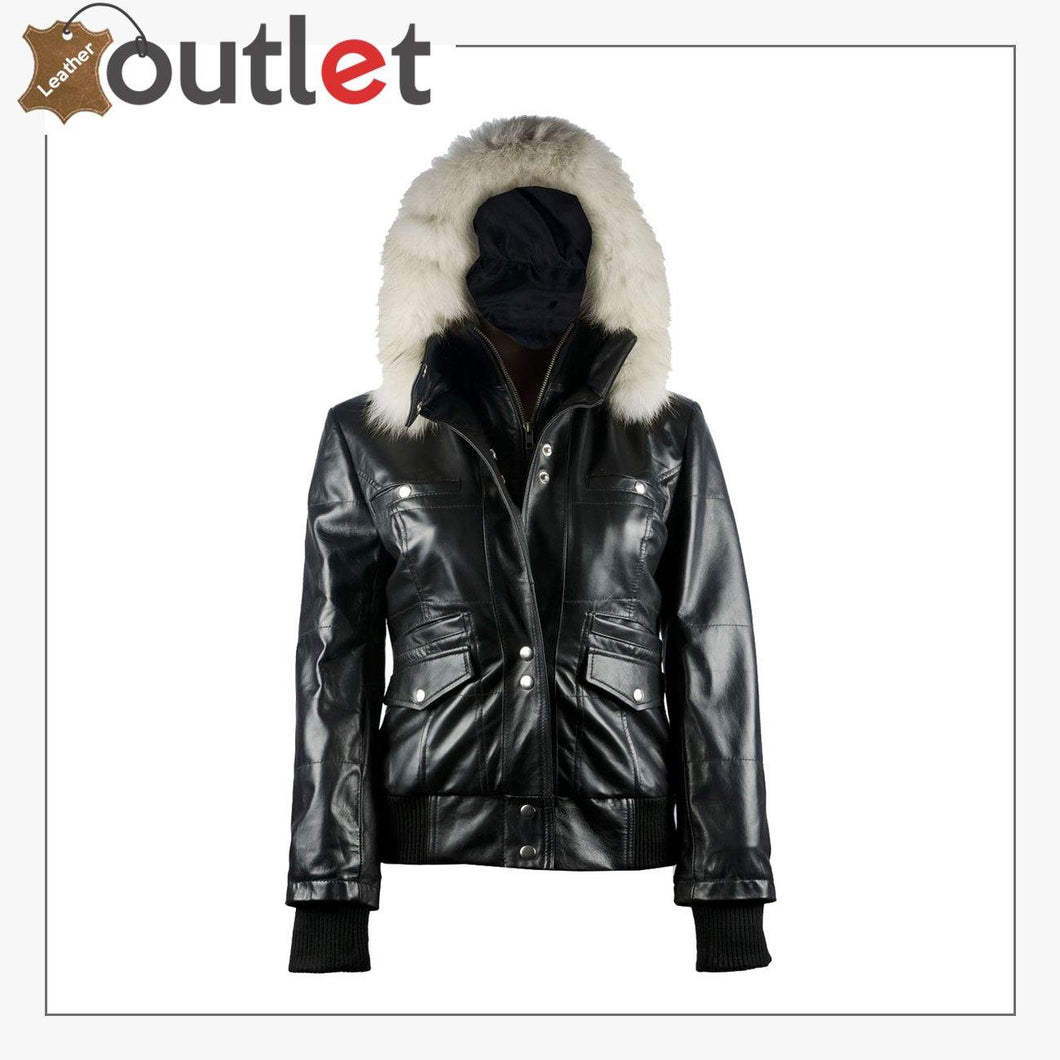 Arctic Freeze Black Bomber Womens Leather Jacket with Hoodie