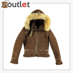 B3 Woman Hoodie Leather Bomber Jacket - Leather Outlet