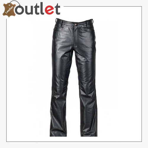 Classic Style Black Leather Pants - Leather Outlet
