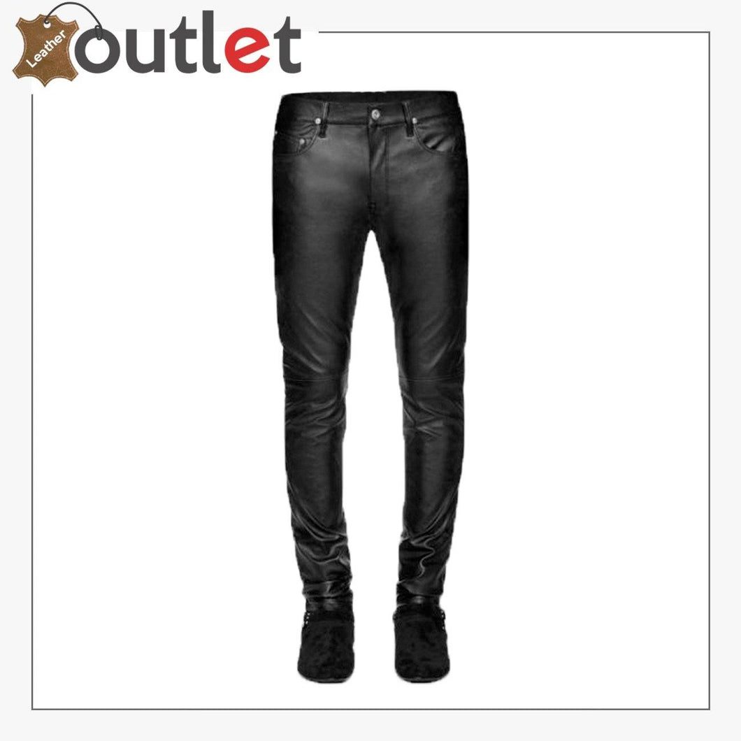 High Quality Black Stretch Leather Pants