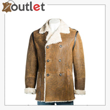 Load image into Gallery viewer, Brown Shearling Leather Men Coat