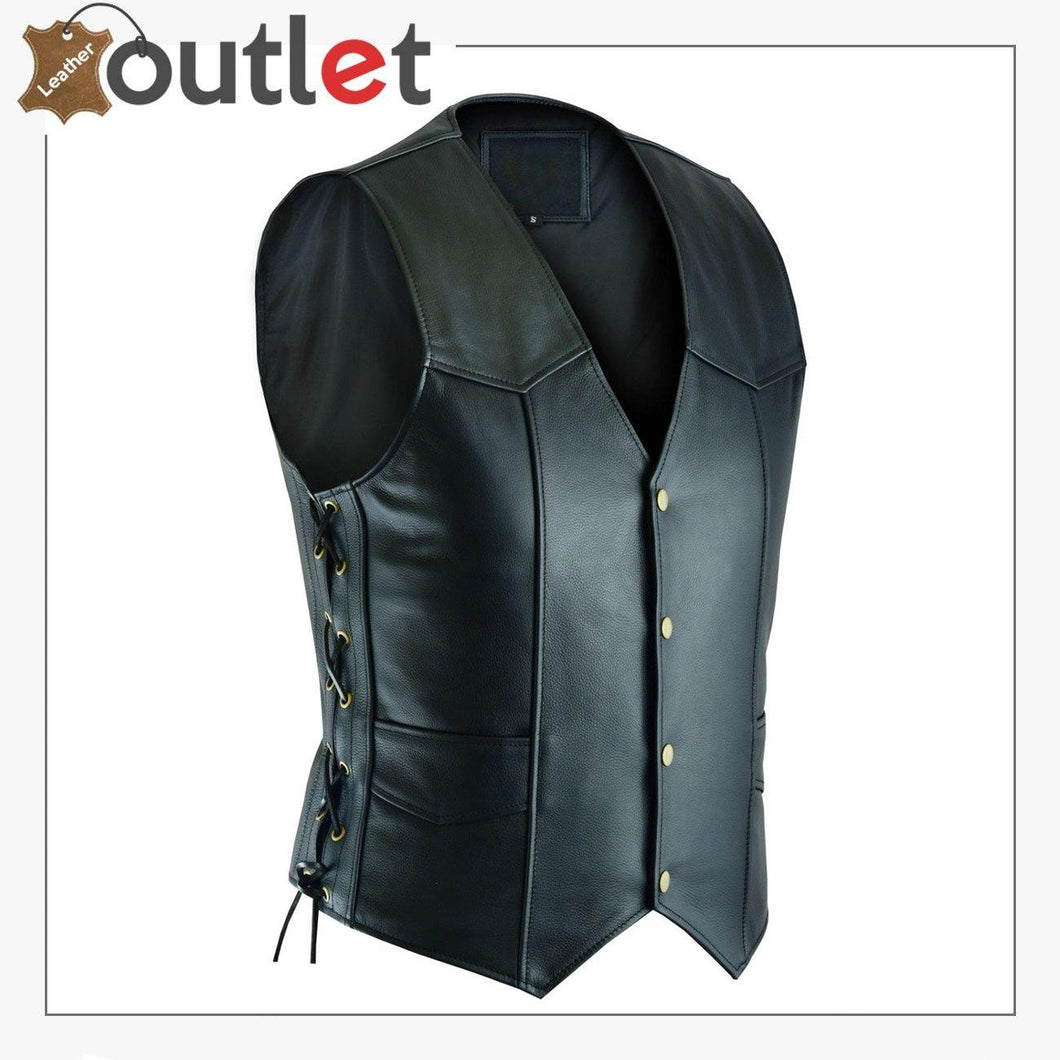 Basic MotorBiker Leather Vest For Men