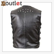 Load image into Gallery viewer, Bike Style Genuine Leather Biker Vest For Mens