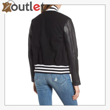 Load image into Gallery viewer, Biker Black Varsity Jacket For Women - Leather Outlet