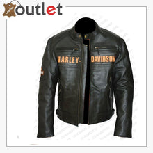 Load image into Gallery viewer, Bill Goldberg Black Harley Davidson Motorcycle Leather Jacket