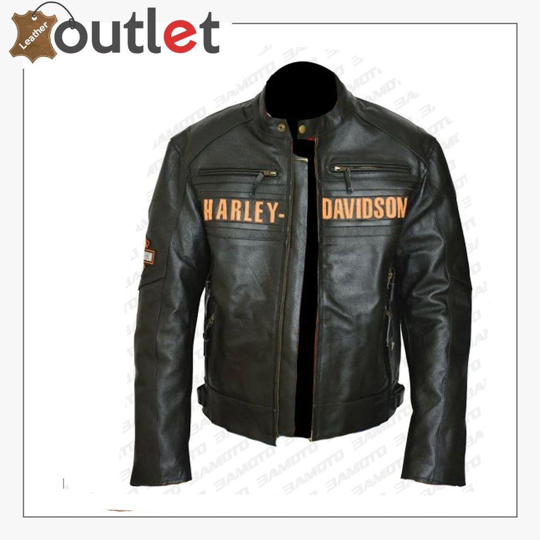 Bill Goldberg Black Harley Davidson Motorcycle Leather Jacket