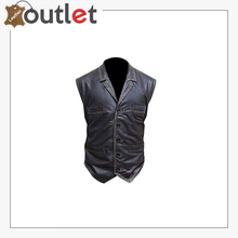 Load image into Gallery viewer, Black Biker Seven Button Pocket Real Leather Vest