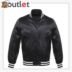 Black Bomber Style Leather Varsity Jacket