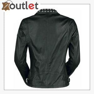Black Classic Rounded Silver Studded Zip Leather Jacket