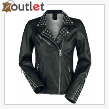 Load image into Gallery viewer, Black Classic Rounded Silver Studded Zip Leather Jacket