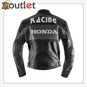 Black Honda Motorbike Real Cowhide Leather Jacket
