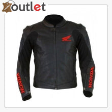 Load image into Gallery viewer, Black Honda Motorbike Style Leather Jacket