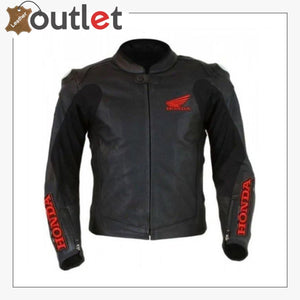 Black Honda Motorbike Style Leather Jacket