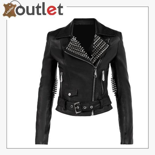 Black Lambskin Leather Silver Studded Biker Jacket