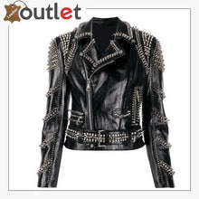 Load image into Gallery viewer, Black Lambskin Perfecto Spike-Stud Biker Jacket