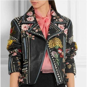 Rose Handpainted Silver Studded Biker Jacket