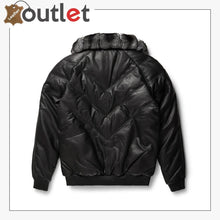 Load image into Gallery viewer, Black Leather Chinchilla Collar V Bomber Jacket