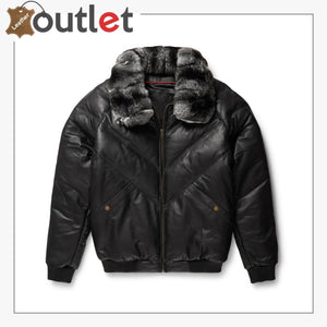 Black Leather Chinchilla Collar V Bomber Jacket