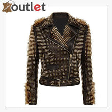 Load image into Gallery viewer, Black Leather Golden Spike Studded Punk Style Biker Jacket