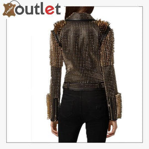 Black Leather Golden Spike Studded Punk Style Biker Jacket
