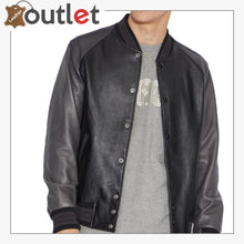Load image into Gallery viewer, Black Leather Varsity Jacket - Leather Outlet