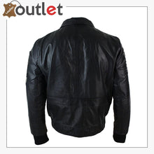 Load image into Gallery viewer, Black Mens Real Leather Bomber Badge Air Force Pilot Flying Jacket