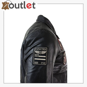 Black Mens Real Leather Bomber Badge Air Force Pilot Flying Jacket