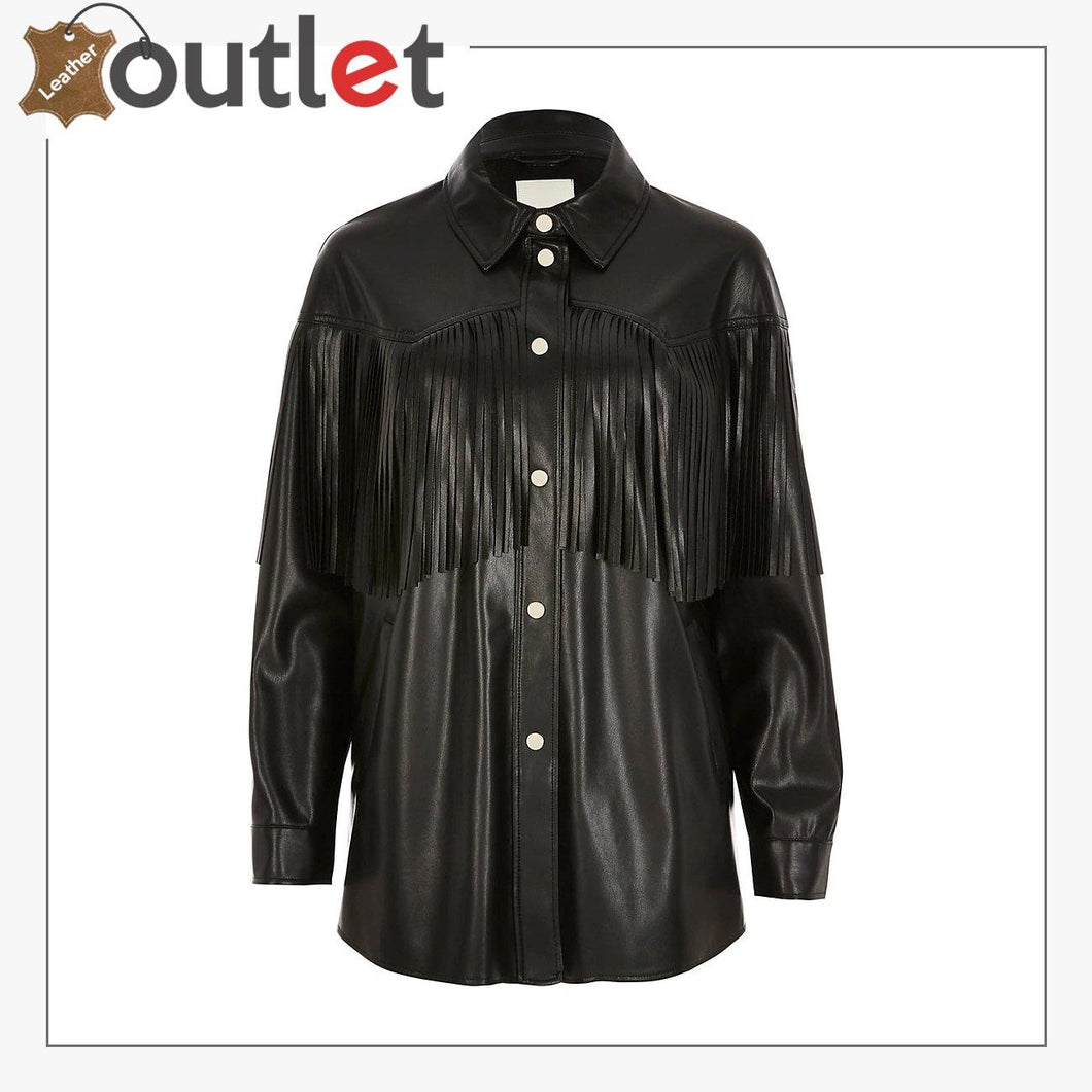 Black Real Quality Womens Leather Shirt